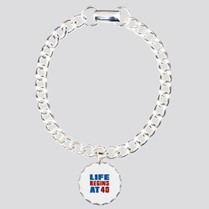 Life Begins At 40 Charm Bracelet, One Charm