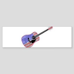 Stars and Stripes Guitar Bumper Sticker