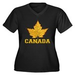 Canada Souve Women's Plus Size V-Neck Dark T-Shirt