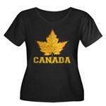 Canada S Women's Plus Size Scoop Neck Dark T-Shirt