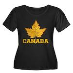 Canada S Women's Plus Size Scoop Neck Dark T-Shirt