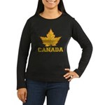 Canada Souvenir V Women's Long Sleeve Dark T-Shirt