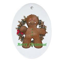 Gingerbread Man Oval Ornament