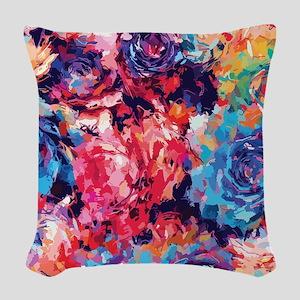 Floral Splash Woven Throw Pillow
