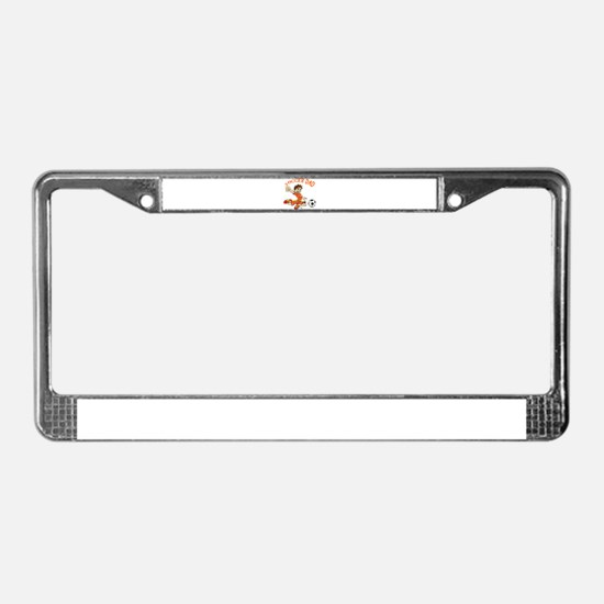 SOCCER DAD BRUNETTE ORANGE.png License Plate Frame