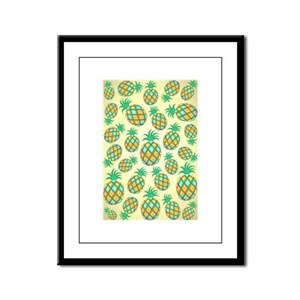 Pineapple Pastel Colors Pattern Framed Panel Print