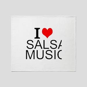 I Love Salsa Music Throw Blanket