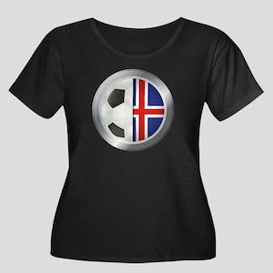 Iceland Soccer Women's Plus Size Scoop Neck Dark T