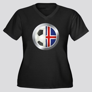 Iceland Soccer Women's Plus Size V-Neck Dark T-Shi