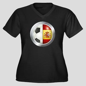 Spain Soccer Women's Plus Size V-Neck Dark T-Shirt