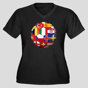 EU Soccer Women's Plus Size V-Neck Dark T-Shirt