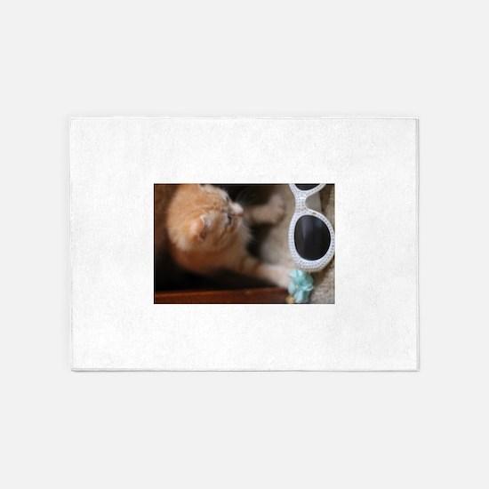 Kitten and sunglasses 5'x7'Area Rug