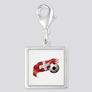 Switzerland Soccer Silver Square Charm