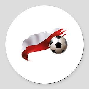 Poland Soccer Round Car Magnet