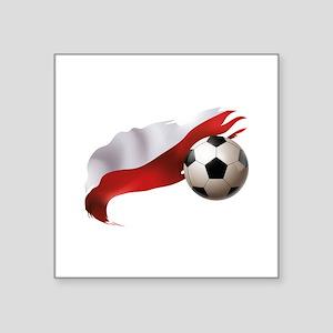 "Poland Soccer Square Sticker 3"" x 3"""