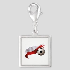 Poland Soccer Silver Square Charm