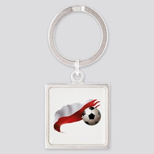 Poland Soccer Square Keychain