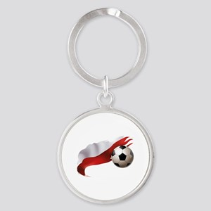 Poland Soccer Round Keychain