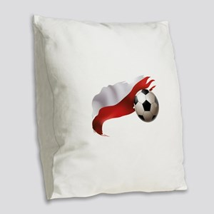 Poland Soccer Burlap Throw Pillow