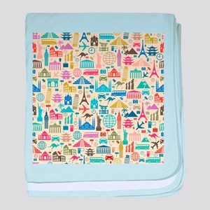 world Travel baby blanket