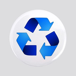 Blue Recycling Symbol Button