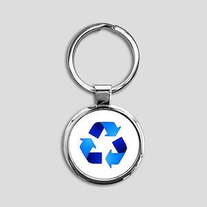Blue Recycling Symbol Keychains