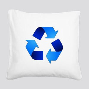 Blue Recycling Symbol Square Canvas Pillow