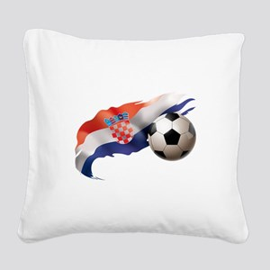 Croatia Soccer Square Canvas Pillow