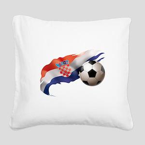 Croatia Soccer Square Canvas Pillow