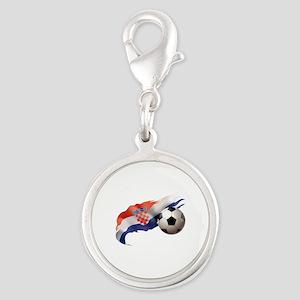 Croatia Soccer Silver Round Charm