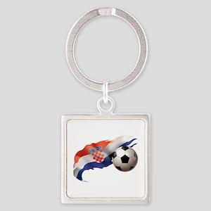 Croatia Soccer Square Keychain