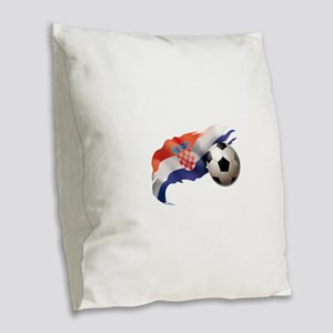 Croatia Soccer Burlap Throw Pillow