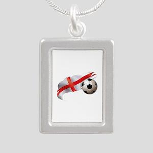 England Soccer Silver Portrait Necklace