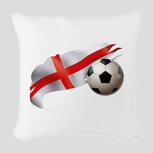 England Soccer Woven Throw Pillow