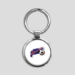 Iceland Soccer Round Keychain