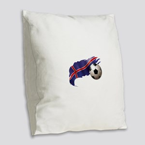 Iceland Soccer Burlap Throw Pillow