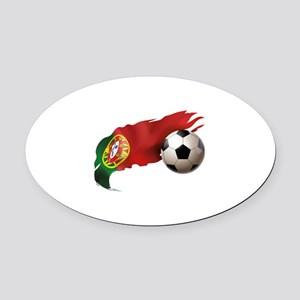 Portugal Soccer Oval Car Magnet