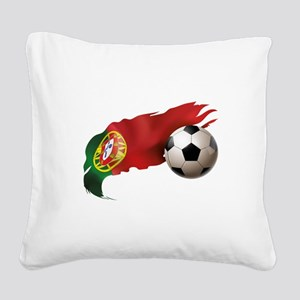 Portugal Soccer Square Canvas Pillow