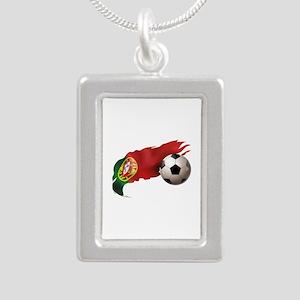 Portugal Soccer Silver Portrait Necklace
