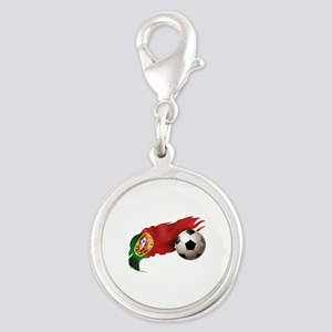 Portugal Soccer Silver Round Charm