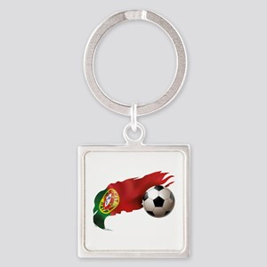 Portugal Soccer Square Keychain