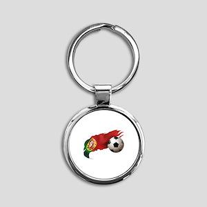 Portugal Soccer Round Keychain