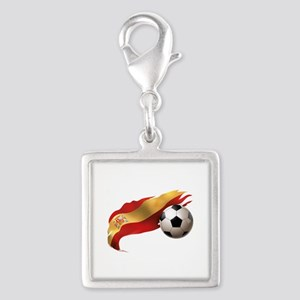 Spain Soccer Silver Square Charm