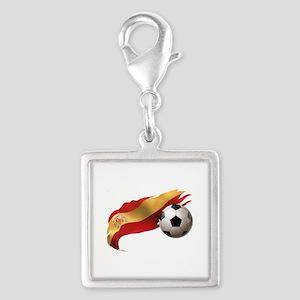 Spain Soccer Silver Square Charm