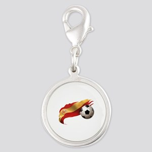 Spain Soccer Silver Round Charm