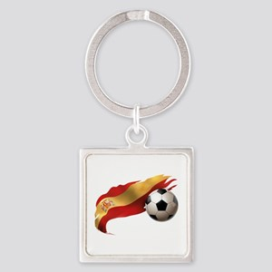Spain Soccer Square Keychain