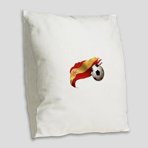 Spain Soccer Burlap Throw Pillow