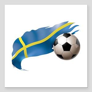"""Sweden Soccer Square Car Magnet 3"""" x 3"""""""