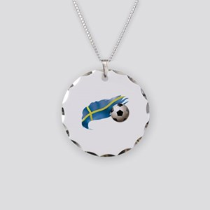 Sweden Soccer Necklace Circle Charm