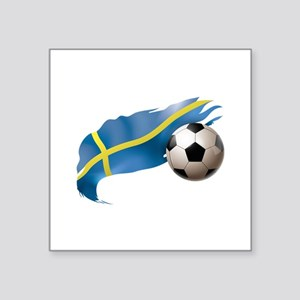 "Sweden Soccer Square Sticker 3"" x 3"""